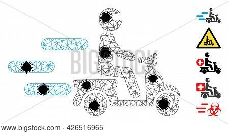 Mesh Fast Motorbike Polygonal 2d Vector Illustration, With Black Coronavirus Elements. Carcass Model