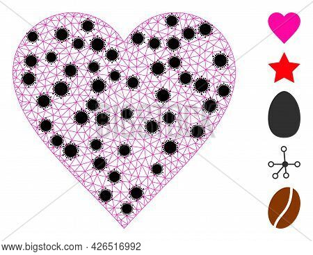 Mesh Heart Polygonal Icon Vector Illustration, With Black Coronavirus Nodes. Model Is Created From H