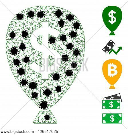Mesh Financial Inflation Balloon Polygonal Icon Vector Illustration, With Black Virus Elements. Carc