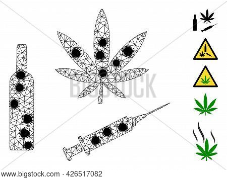Mesh Narcotic Drugs Polygonal 2d Vector Illustration, With Black Infectious Items. Model Is Based On