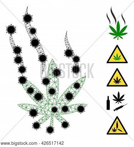 Mesh Cannabis Smoke Polygonal Icon Vector Illustration, With Black Coronavirus Nodes. Model Is Based
