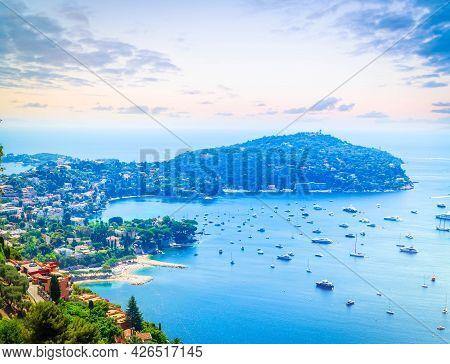 Landscape Of Riviera Coast And Turquiose Sea Water Of Cote Dazur, Riviera, France