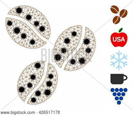 Mesh Coffee Beans Polygonal Icon Vector Illustration, With Black Covid Items. Carcass Model Is Creat