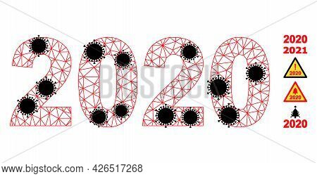 Mesh 2020 Year Digits Polygonal Symbol Vector Illustration, With Black Covid Items. Carcass Model Is