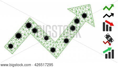 Mesh Trend Up Arrow Polygonal Icon Vector Illustration, With Black Virus Nodes. Carcass Model Is Cre