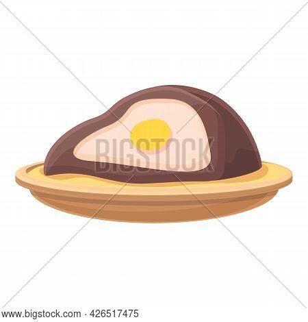 Egg Meat Roll Icon Cartoon Vector. Korea Cheese Bread. Ham Bacon