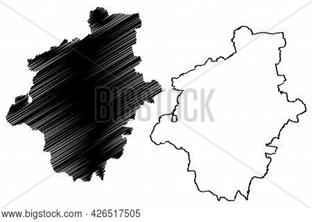 Gotha District (federal Republic Of Germany, Rural District, Free State Of Thuringia) Map Vector Ill