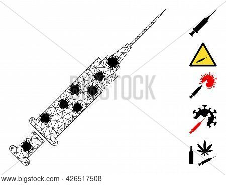 Mesh Syringe Polygonal 2d Vector Illustration, With Black Infection Items. Carcass Model Is Based On
