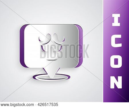 Paper Cut Barbershop Icon Isolated On Grey Background. Hairdresser Logo Or Signboard. Paper Art Styl