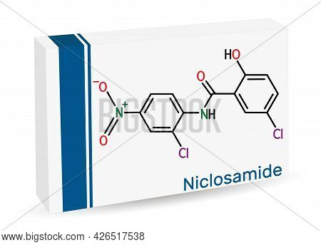 Niclosamide Molecule. It Is Chlorinated Salicylanilide, Antihelminthic Drug For The Treatment Of Tap