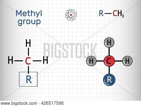 Methyl Group (me), Ch3. It Is Alkyl Functional Group, Structural Unit Of Organic Compounds. Sheet Of