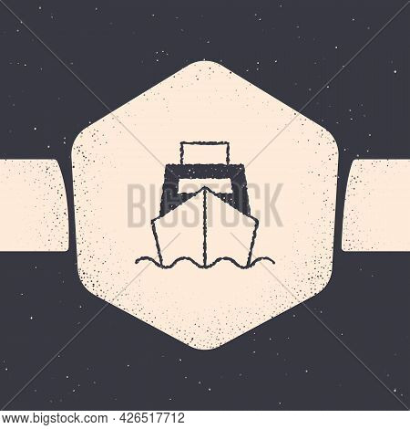 Grunge Cargo Ship With Boxes Delivery Service Icon Isolated On Grey Background. Delivery, Transporta