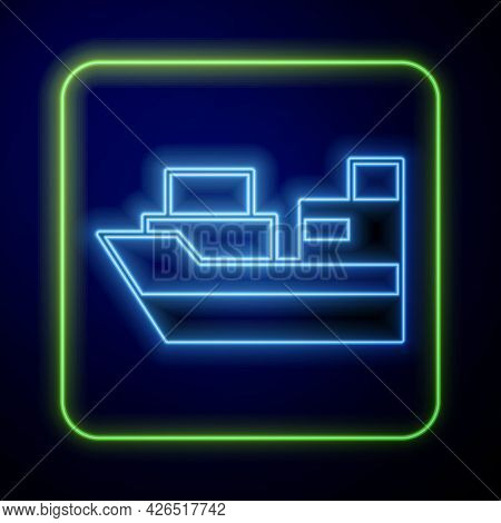Glowing Neon Cargo Ship With Boxes Delivery Service Icon Isolated On Blue Background. Delivery, Tran