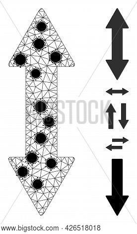Mesh Vertical Exchange Arrow Polygonal 2d Vector Illustration, With Black Coronavirus Elements. Carc