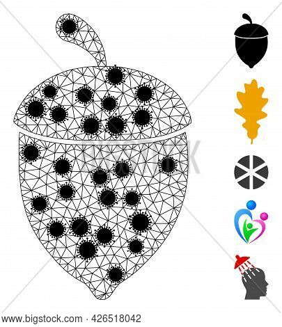 Mesh Oak Acorn Polygonal 2d Vector Illustration, With Black Infectious Centers. Carcass Model Is Bas
