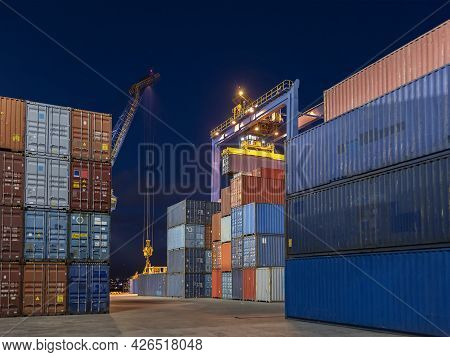 Stack Of Cargo Containers In Cargo Port In Hong Kong