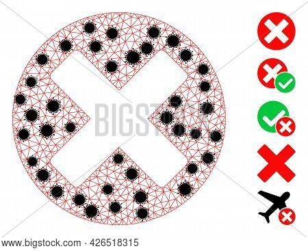 Mesh Cancel Sign Polygonal Symbol Vector Illustration, With Black Infection Elements. Model Is Based