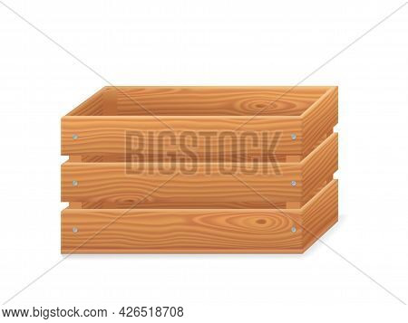 Wooden Crate, 3d Garden Box For Fruits And Vegetables. Basket From Brown Timber For Harvest In Front