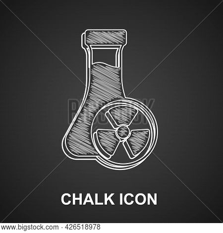 Chalk Laboratory Chemical Beaker With Toxic Liquid Icon Isolated On Black Background. Biohazard Symb
