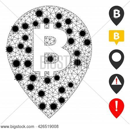 Mesh Bitcoin Map Pointer Polygonal Icon Vector Illustration, With Black Infectious Nodes. Model Is C