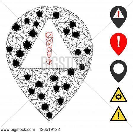 Mesh Warning Map Pointer Polygonal Icon Vector Illustration, With Black Coronavirus Elements. Model
