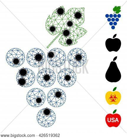 Mesh Grapes Bunch Polygonal Icon Vector Illustration, With Black Infection Nodes. Carcass Model Is C