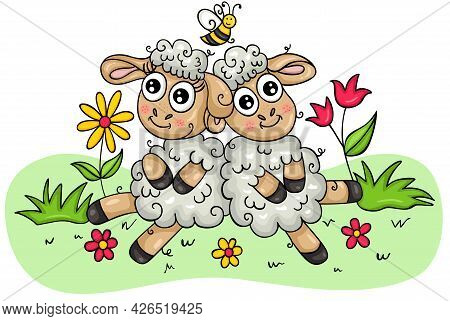 Scalable Vectorial Representing A Two Funny Lambs On The Garden, Element For Design, Illustration Is