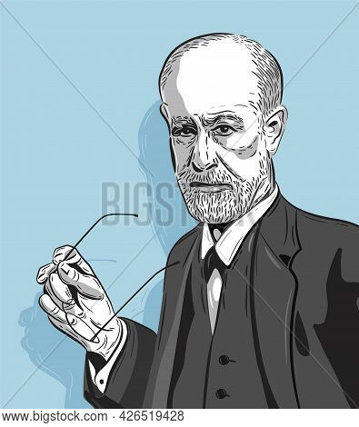 Sigmund Freud - The Father Of Psychoanalysis, Portrait. Ego, Superego, Libodo, Sexuality. Vector Lin
