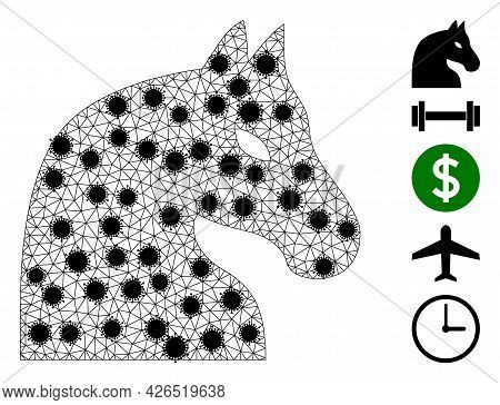 Mesh Chess Horse Polygonal Icon Vector Illustration, With Black Covid Centers. Carcass Model Is Crea