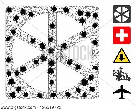 Mesh Pizza Box Polygonal 2d Vector Illustration, With Black Infectious Elements. Carcass Model Is Ba