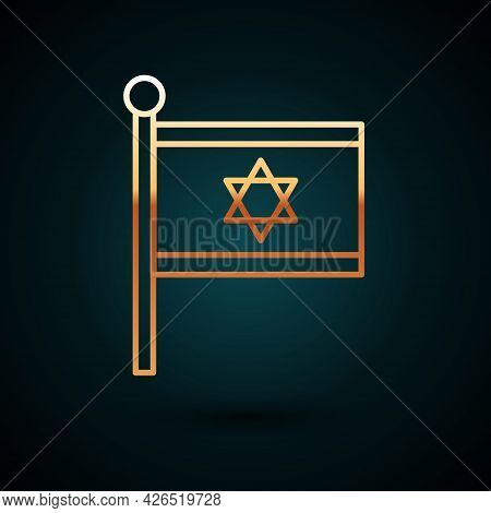Gold Line Flag Of Israel Icon Isolated On Dark Blue Background. National Patriotic Symbol. Vector