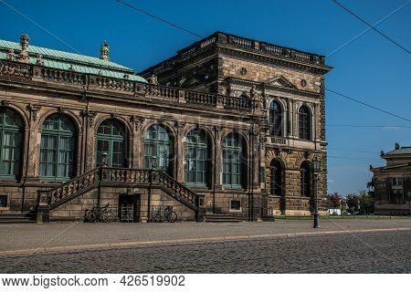 17 May 2019 Dresden, Germany -  The German Pavilion (deutscher Pavilion) Of Zwinger, Street View. Dr
