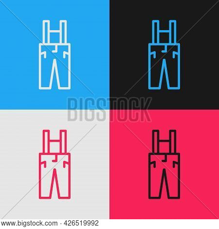Pop Art Line Pants With Suspenders Icon Isolated On Color Background. Vector