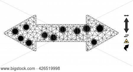 Mesh Horizontal Exchange Arrow Polygonal Icon Vector Illustration, With Black Covid Nodes. Carcass M