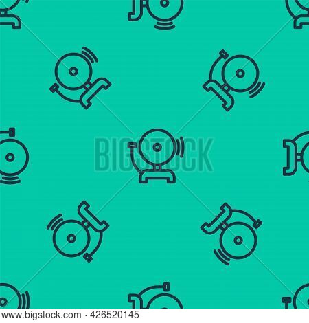 Blue Line Ringing Alarm Bell Icon Isolated Seamless Pattern On Green Background. Fire Alarm System.