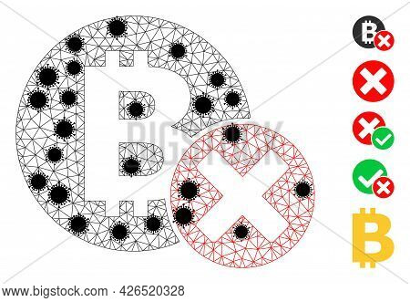 Mesh Reject Bitcoin Polygonal 2d Vector Illustration, With Black Infectious Nodes. Carcass Model Is
