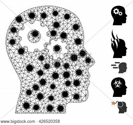 Mesh Head Gears Polygonal Symbol Vector Illustration, With Black Covid Nodes. Model Is Created From