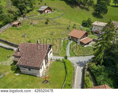 Drone View At The Village Of Heidi Over Maienfeld In The Swiss Alps