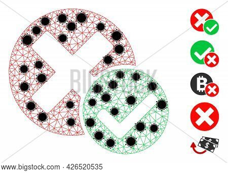 Mesh True Negative Polygonal Icon Vector Illustration, With Black Infectious Centers. Carcass Model