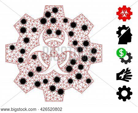 Mesh Biohazard Industry Polygonal 2d Vector Illustration, With Black Covid Elements. Carcass Model I