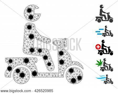 Mesh Motorbike Driver Polygonal Icon Vector Illustration, With Black Coronavirus Elements. Carcass M