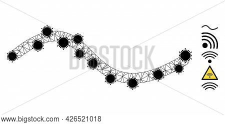 Mesh Wave Line Polygonal Icon Vector Illustration, With Black Covid Items. Model Is Based On Wave Li