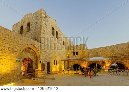 Rosh Haayin, Israel - July 08, 2021: Evening View Of The Courtyard (with Visitors) Of The Crusader A