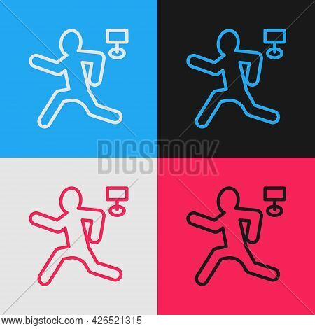 Pop Art Line Murder Icon Isolated On Color Background. Body, Bleeding, Corpse, Bleeding Icon. Concep