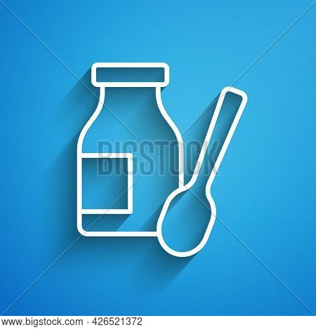 White Line Drinking Yogurt In Bottle With Spoon Icon Isolated On Blue Background. Long Shadow. Vecto