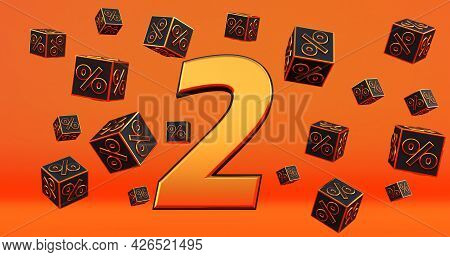 Gold Two 2 Percent Number With Black Cubes  Percentages Fly On A Orange Background. 3d Render