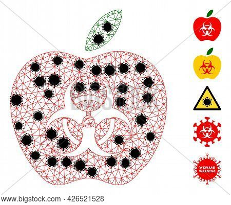 Mesh Infected Apple Polygonal Icon Vector Illustration, With Black Infectious Elements. Abstraction