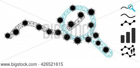 Mesh Expore Wave Chart Polygonal Symbol Vector Illustration, With Black Covid Elements. Abstraction