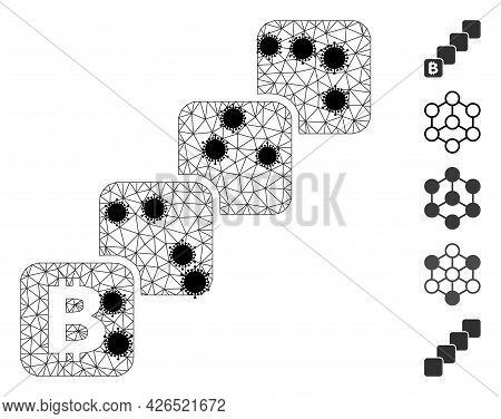 Mesh Bitcoin Blockchain Polygonal Icon Vector Illustration, With Black Infectious Nodes. Abstraction