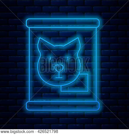 Glowing Neon Line Canned Food Icon Isolated On Brick Wall Background. Food For Animals. Pet Food Can